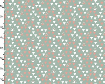 Little Ones - Triangles Dusty Green from 3 Wishes Fabric