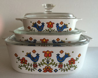 Corning Ware Country Festival / Bright Lovely Colors! / Enchanting Blue Birds Flowers & Hearts / Wedding Country Cottage Farmhouse  Decor