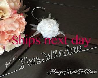 Wedding hanger, custom wire hanger, bridal hanger, bride gift, bridesmaids gift, custom made hanger, Name hanger, Dress hanger, Wedding gift