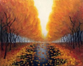 Original Autumn Leaves After Rain, landscape, 20'x16' mixed media painting by Velma Serrano