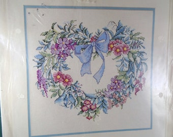 Elsa Williams Counted Cross Stitch Kit Heartfelt Wreath Free Shipping USA