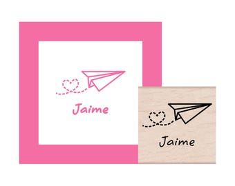 Paper Airplane with heart trail Personalized Rubber Stamp
