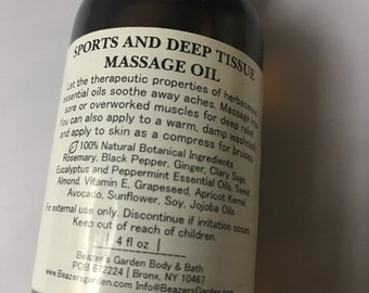 Sports and Deep Tissue Massage Oil - Body Massage Oil - Back Pain Relief - Organic Body Oil - Black Pepper - Cleary Sage - Peppermint