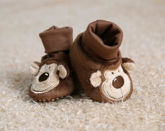 Monkey Novelty Animal Socktop Booties, Pram Shoes, Crib Shoes, Prewalkers, Baby Shoes, Padders, Winter Boots, Baby Slippers, Bootees