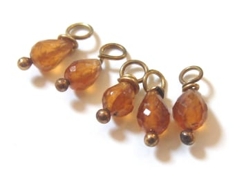 Orange Stone Beads - Faceted Garnet Earring - Hessonite Garnet Teardrops - Faceted Gemstone - Free Shipping - SALE WAS 29 NOW 18