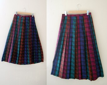 80s Print Skirt / Pleated Skirt / 80s Multi Skirt / Wool Skirt / Small Skirt / Black Skirt /  Women Skirts / Vintage Clothing Skirts