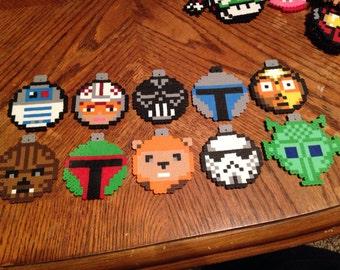 Star Wars | Christmas | Ornament | Set | Perler Bead | 10 Piece Set | R2D2 | Ewok | Chewbacca | Storm Trooper | Darth Vader | Boba Fett