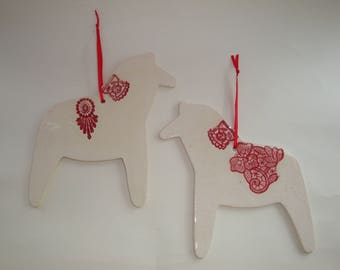 Ceramic hanging dala horse decoration (large), scandinavian inspired.