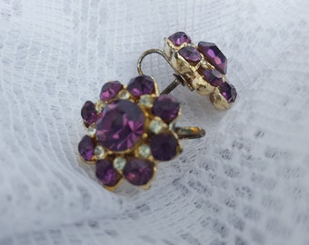 vintage gold tone faceted amethyst purple clear rhinestone rhinestones clip on earrings mod gift  easter birthday Christmas gift