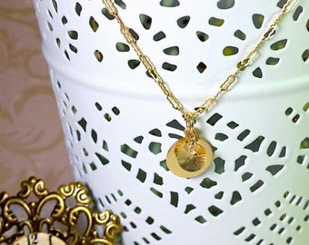 """Gold Filled Necklace and 10mm Round disc gold filled pendent with Swarovski crystal, 18"""" - Gold Filled Krinkle Chain, Gold Filled necklace"""