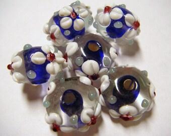 6 Clear dark blue core floral applique rondelle spacer beads