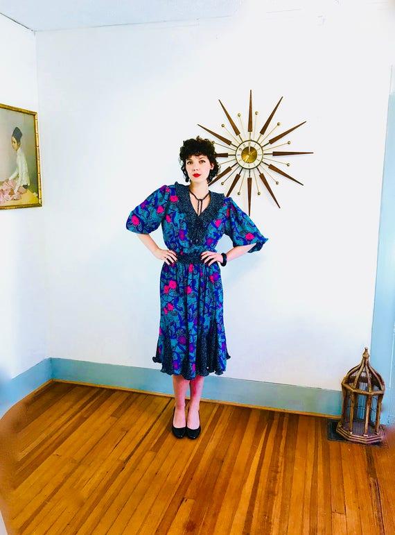 80s Ruffle Dress, DIANE FREIS ASSORTI, Vintage 1980s dress, Black Teal Purple Floral, Puff Sleeves, Gypsy Boho Hippie, Georgette Scarf Dress