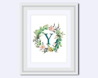 Monogram Y - cactus monogram - cactus wreath print - Monogram printable - Wedding printable - cactus decor - diy printable - wall art print