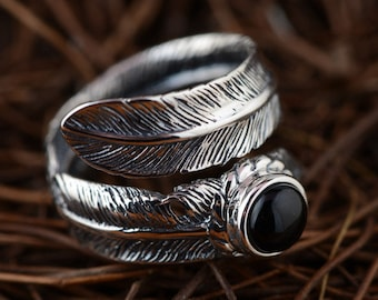 Sterling Silver Jewelry Feather Opening Rings
