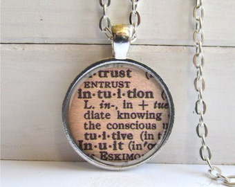 Intuition Pendant, Vintage Dictionary Definition, Affirmation Necklace, Word Jewelry