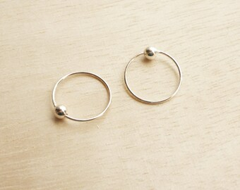 12 mm Captive Bead Ring,925 Sterling Silver,Hoop Earrings,Second Hole Earrings,Cartilage,Piercing,Tragus,Septum,Piercing,Hypoallergenic