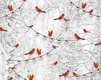 Henry Glass - Holiday Wishes - Cardinals - Gray - Fabric by the Yard 6926-90