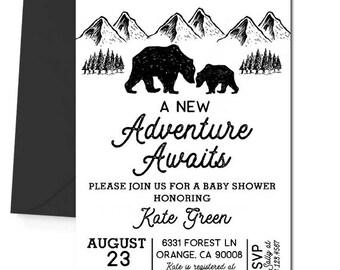 Bear Invitation, Wild Baby Shower Invitation, Adventure Awaits, Adventure Begins, Baby Boy Shower, Bear Cub, Man Cub, Black and White