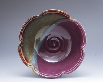 Handmade  Pottery Stoneware Bowl Purple Brown by Mark Hudak