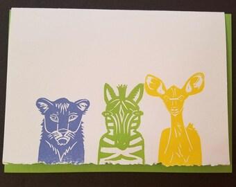 Safari Babies Letterpress Blank Card