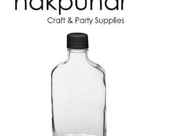 1 pc (200 ml) Flask Bottle with Black Tamper Evident Cap