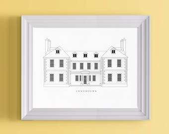 Longbourn Architectural Poster | A Literary Print For Jane Austen Fans, Pride and Prejudice Adorers and Long Lost Bennet Sisters