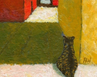 cat art print, acrylic painting - Waiting For Someone's Return - cat paintings, home decor, cat lover gift, cat in italy , A3 print A4, 6x8