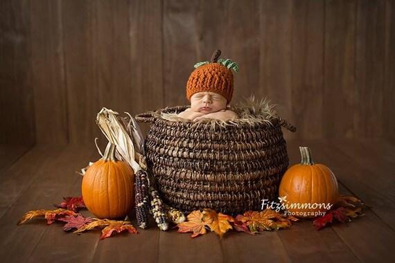 Fall hat crochet pumpkin hat newborn photo prop fall photo
