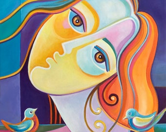 Cubist Painting Abstract Art Original Oil Marlina Vera Girl with Birds portrait woman Modern artwork Picasso Style figurative cubism sale