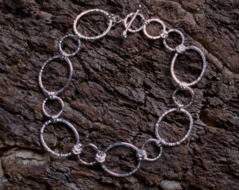 Sterling Silver bracelet 'Katerina'.  A Fancy hand made link bracelet. Fully UK hallmarked, Eco-friendly recycled sterling silver.