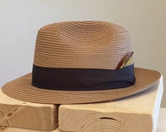 Handsome Vintage Natural Straw Hat Fedora by Pinzano Size 7 1/8