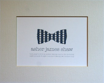 Custom New Baby Bow Tie Wall Art Print / Nursery Art / Birth Announcement / Bow Tie