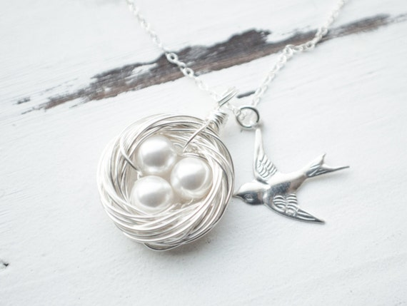 Mother's Day Gift | Silver Birds Nest Necklace with 3 Pearl Eggs | Handmade Sparrow Nest | Swirled Nest | Three Egg Nest | Bird Necklace