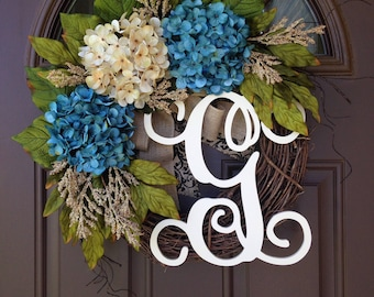 Wreath - Year Round White Hydrangea Wreath for Front Door - Summer Initial Wreath with Burlap - Everyday Grapevine Wreath with Monogram