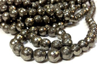 Natural Pyrite 6 , 8 or 10 mm Faceted Round Beads Gemstone 96 Faces (G0928NW303248)