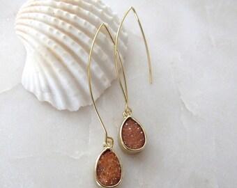 Druzy Earrings Peach Druzy Drop Long Gold Earwire