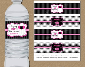 Birthday Water Bottle Labels - Printable Birthday Party Decorations - Personalized Water Bottle Wrappers - Birthday Drink Wraps - Pink Black