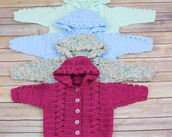 CROCHET PATTERN For Trellis Baby Hooded Jacket in 4 Sizes 0-12mths PDF 2  Digital Download