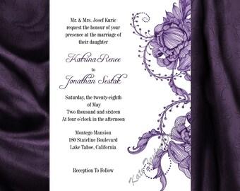 Victorian Wedding Invitation & RSVP  Vintage Wedding Invitation - Price Includes Matching Envelopes and Printed Return Address - Design 10