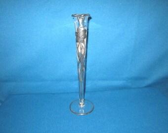 """Vintage Sterling Silver Floral Overlay Glass 11"""" Bud Vase"""