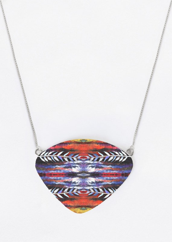Southwestern Feather Statement Necklace Pendant  Original Art on Metal Boho Hippie Jewelry Made in USA