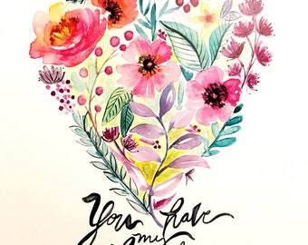 Floral Heart Watercolor PRINT