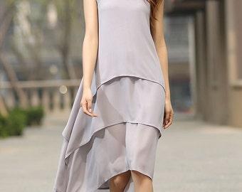 grey dress, chiffon dress, layered dress, high low dress, womens dresses, shift dress, long dress, sleeveless dress, handmade dress  (932)