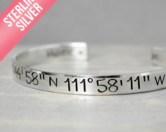 Silver Coordinate Cuff, Silver Cuff, Coordinate Bracelet, Custom CoordinatesHand Stamped Jewelry, Personalized Jewelry Distance Relationship