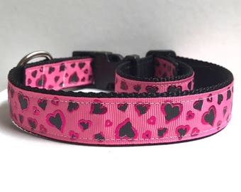 """1"""" Pink Foil Hearts Collar"""