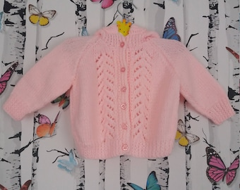 Girls Pink Hooded Cardigan, Baby Girl, 3 - 6 Months, Knitted Hooded Cardigan, Pink Cardigan, Handmade, Hand Knitted