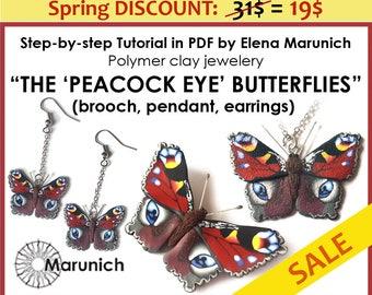 "SALE: Polymer clay tutorial ""The 'peacock eye' butterflies - brooch, pendant, earrings"" PDF"