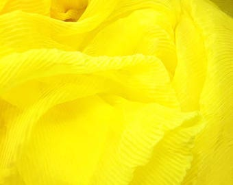 Haute Couture yellow pleated chiffon
