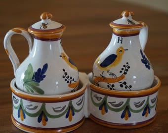 faience oil and vinegar cruet