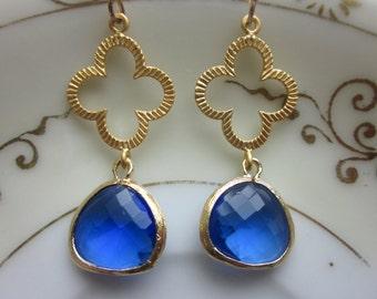 Cobalt Blue Earrings Gold Clover Quatrefoil - Bridesmaid Earrings - Valentines Day Gift - Wedding Earrings